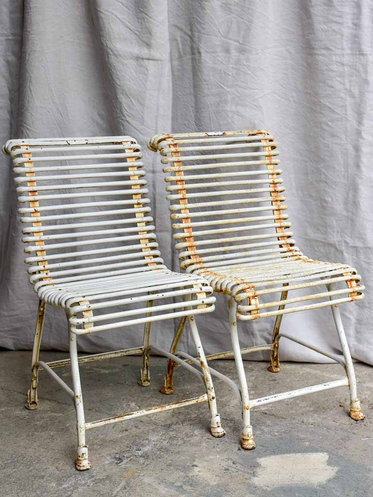 Pair of antique French garden chairs - Saint Sauveur Arras - hoof feet