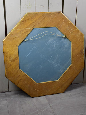 Mid century octagonal mirror with bamboo frame 35¾""
