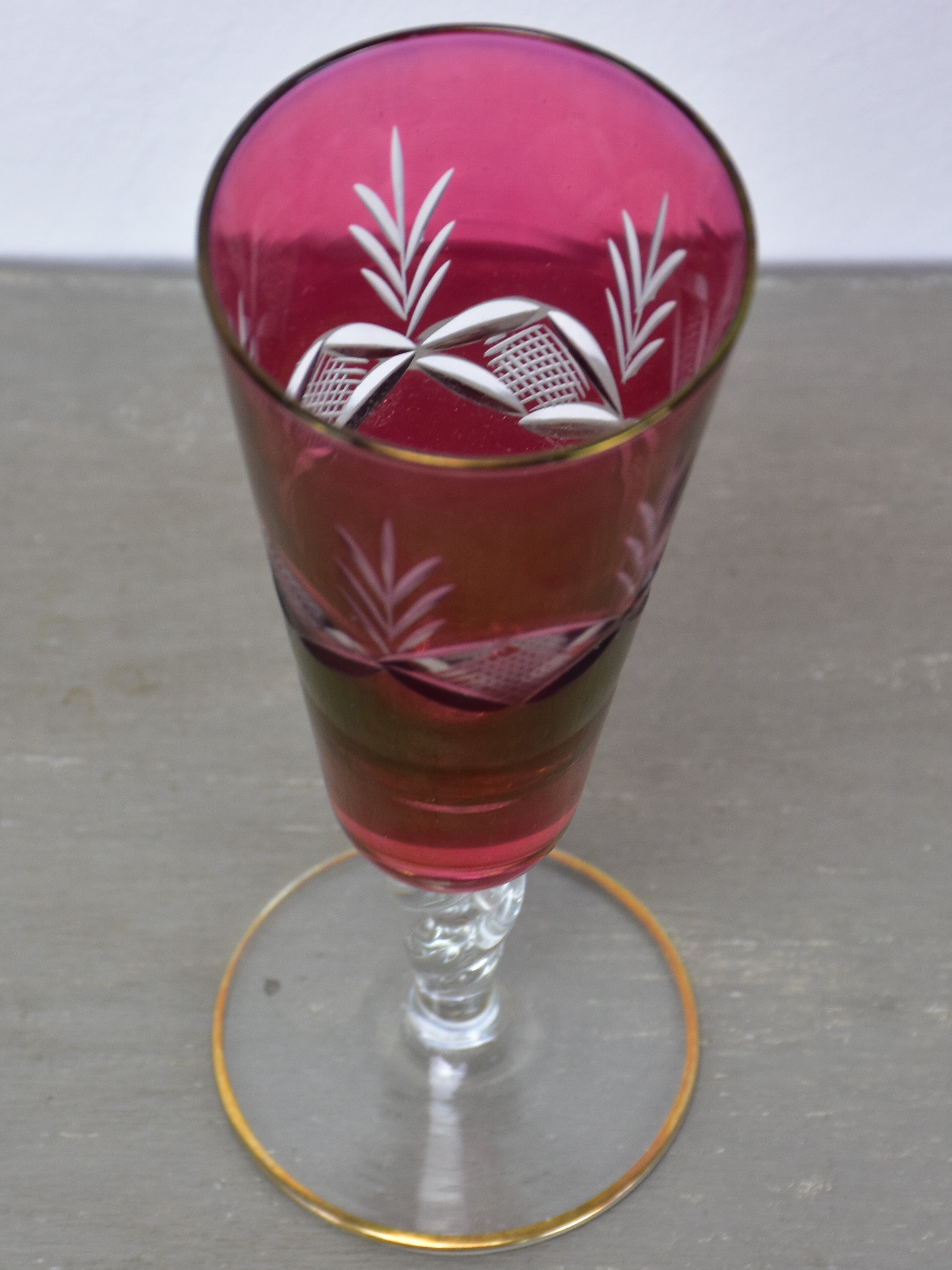 Six antique French champagne glasses with red etched glass