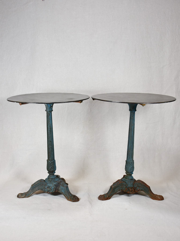 Antique French bistro table with cast iron base timeworn blue / green patina - 1900's