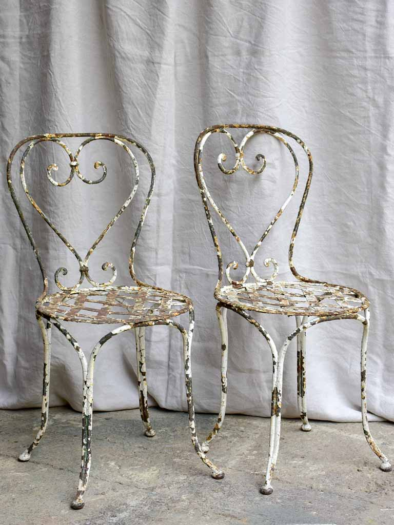 Three antique French garden chairs - heart backrest with lattice seat