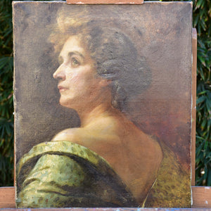 19th century French portrait of a lady in olive green dress