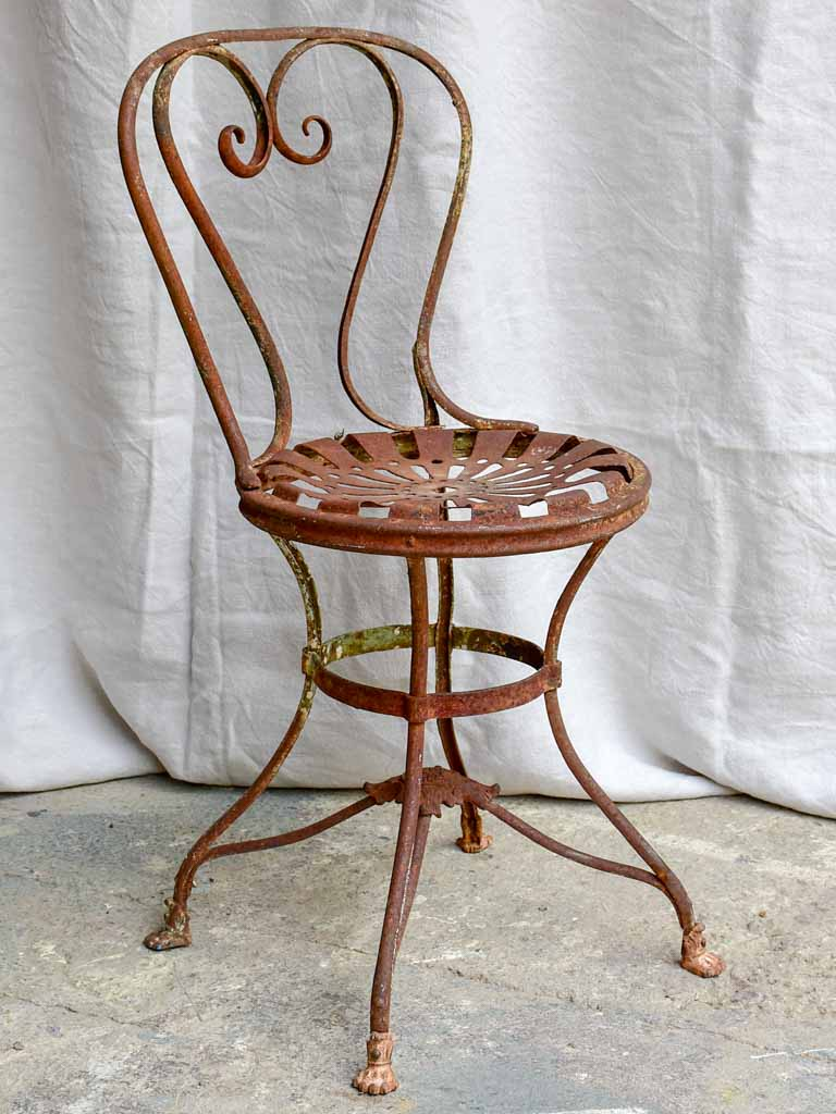 Antique French garden chair branded Arras