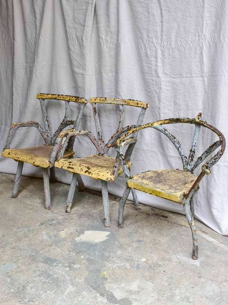 Three antique French faux bois garden armchairs