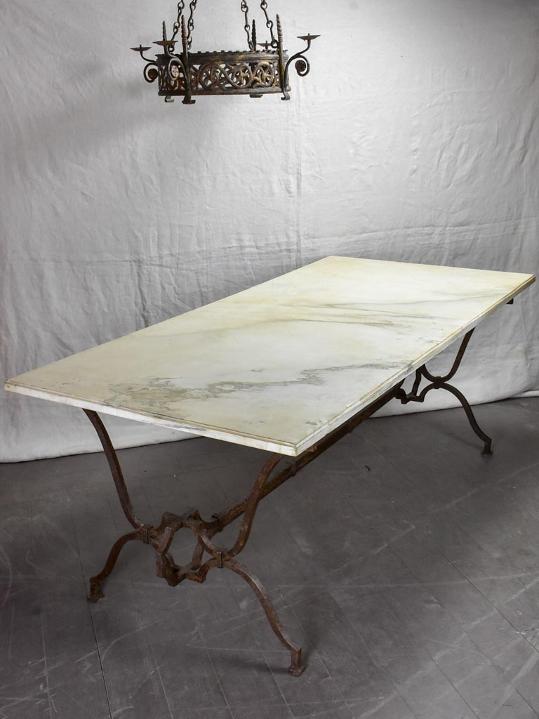 "Very large 18th Century rectangular marble table with pretty iron base 74"" x 35½"""