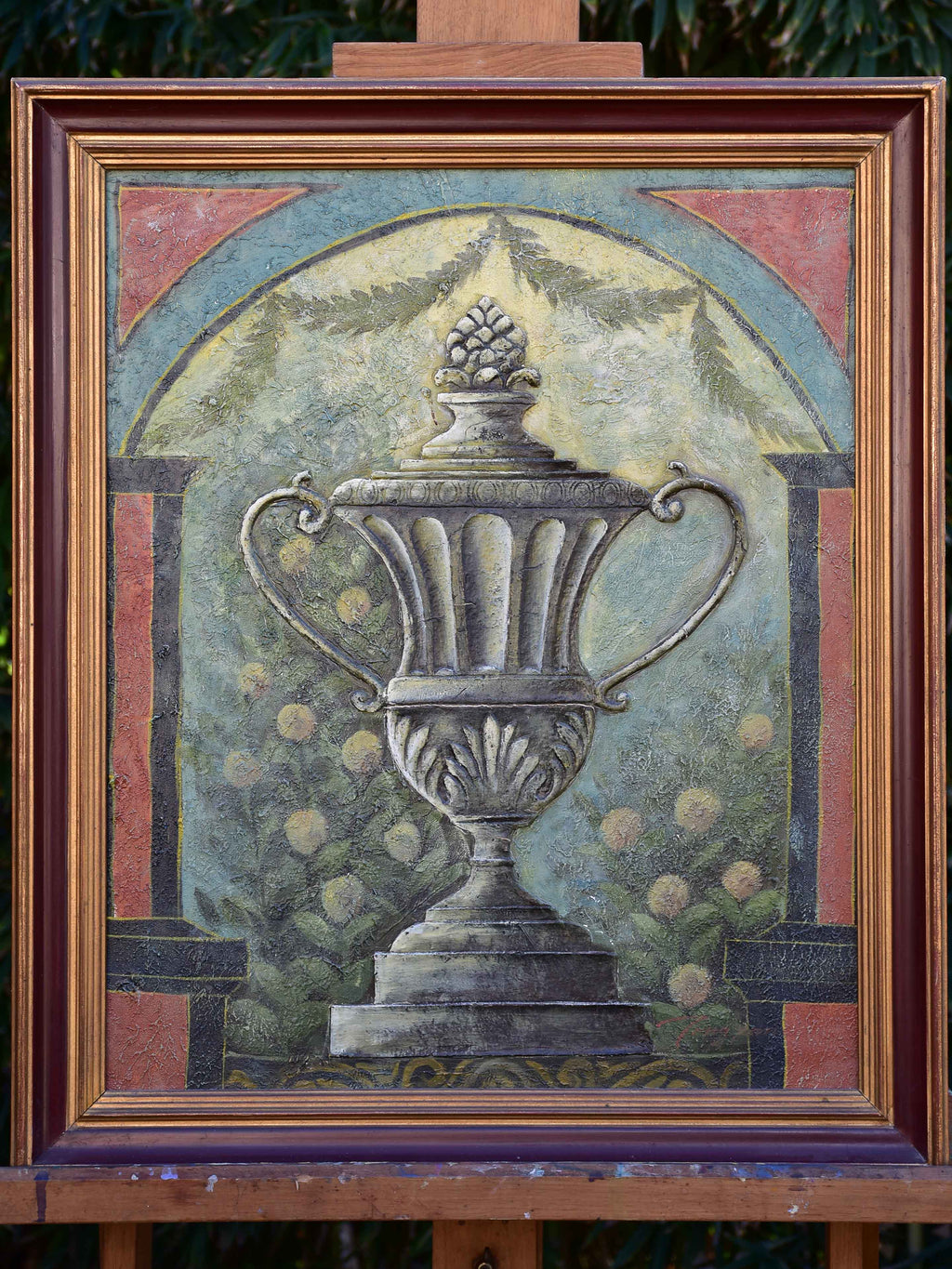 Decorative French painting of a garden urn