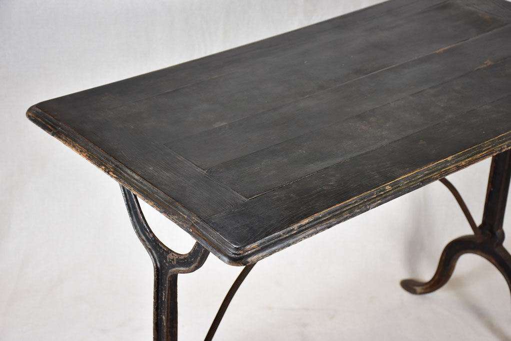 "Superb French bistro table with oak top and cast iron base 38½"" x 20½"""