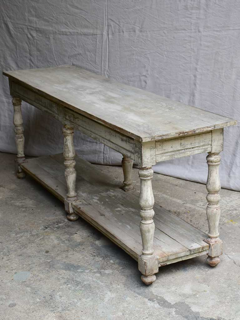 "Antique French drapery table with beige / grey painted patina 74¾"" long"
