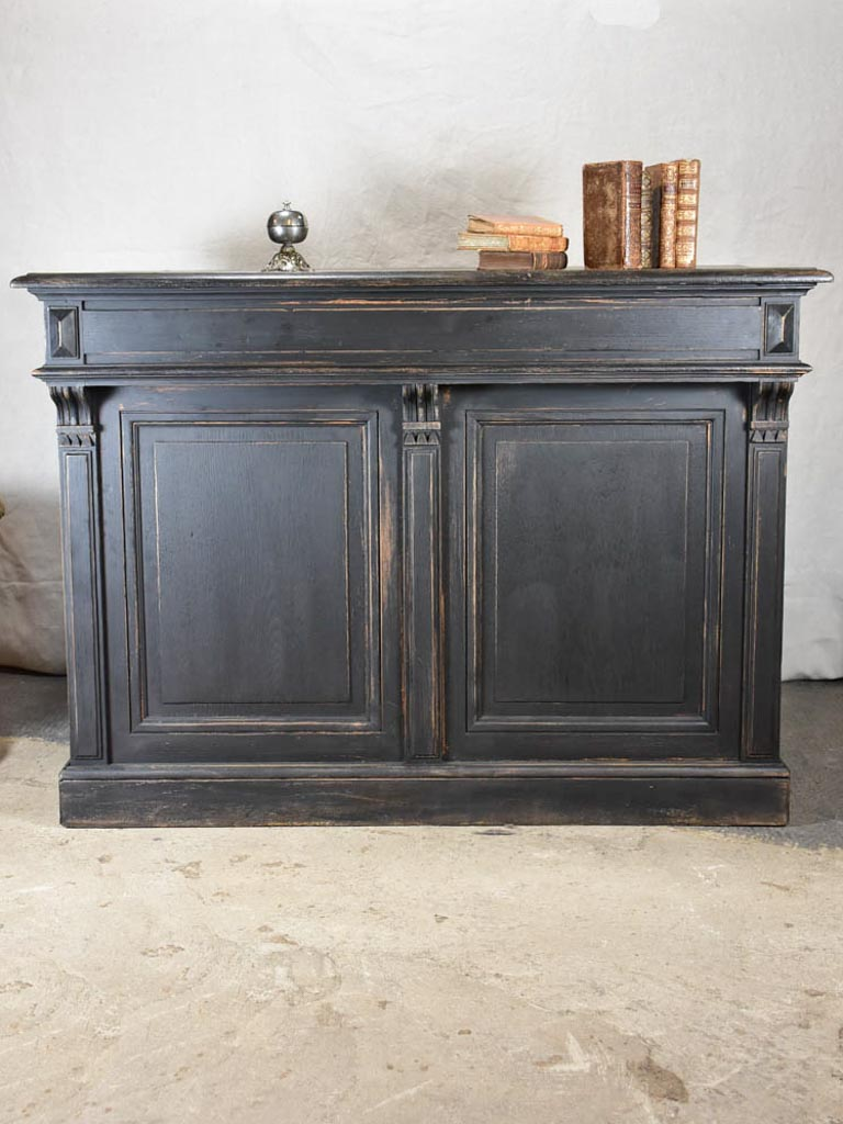 Antique French shop counter with black patina - 1900's 48½""