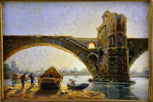"""The bridge of Avignon"" - Le pont d'Avignon, Laurent Genin (1895-1953) 12¼"" x 16¼"""