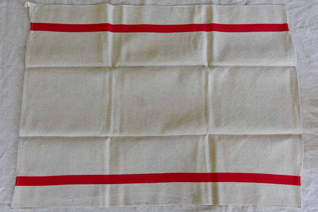 "Set of nine antique French tea towels with 1"" red stripes"
