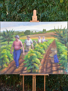 Large French painting of the grape harvest c.1940