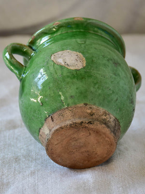 Miniature antique French confit pot with green glaze 4""