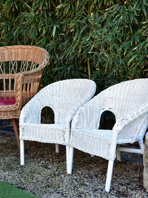 Pair of French childrens rattan armchairs