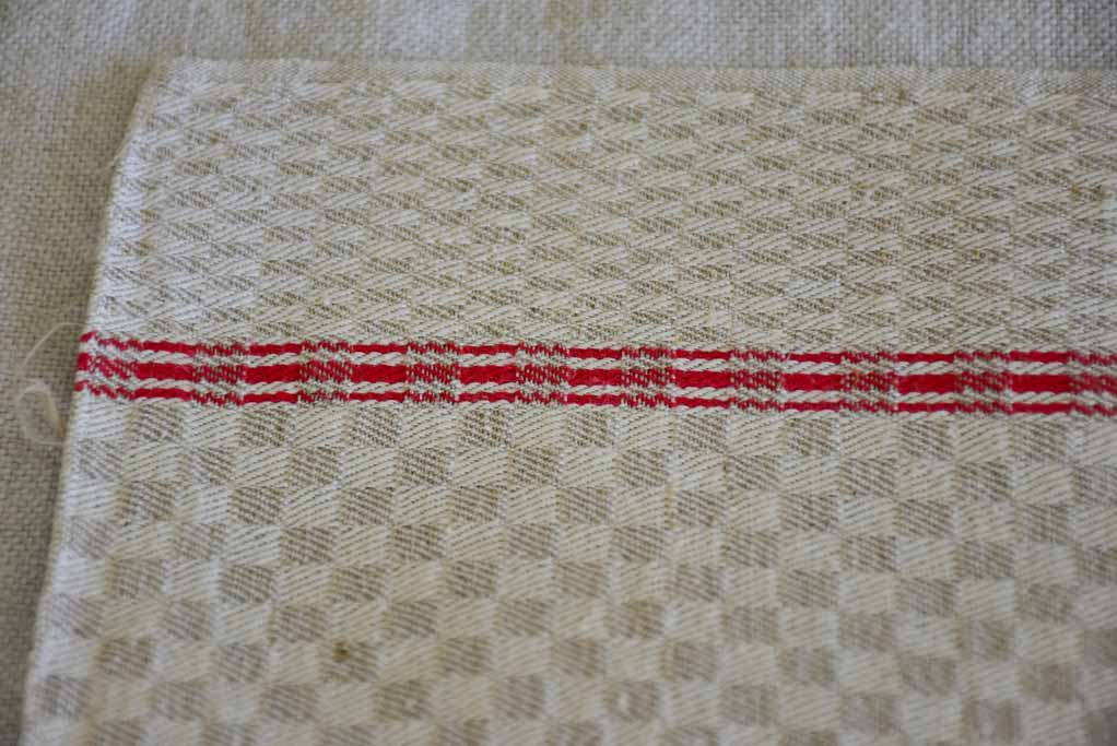 Set of eight antique French teatowels - checkered with red stripes