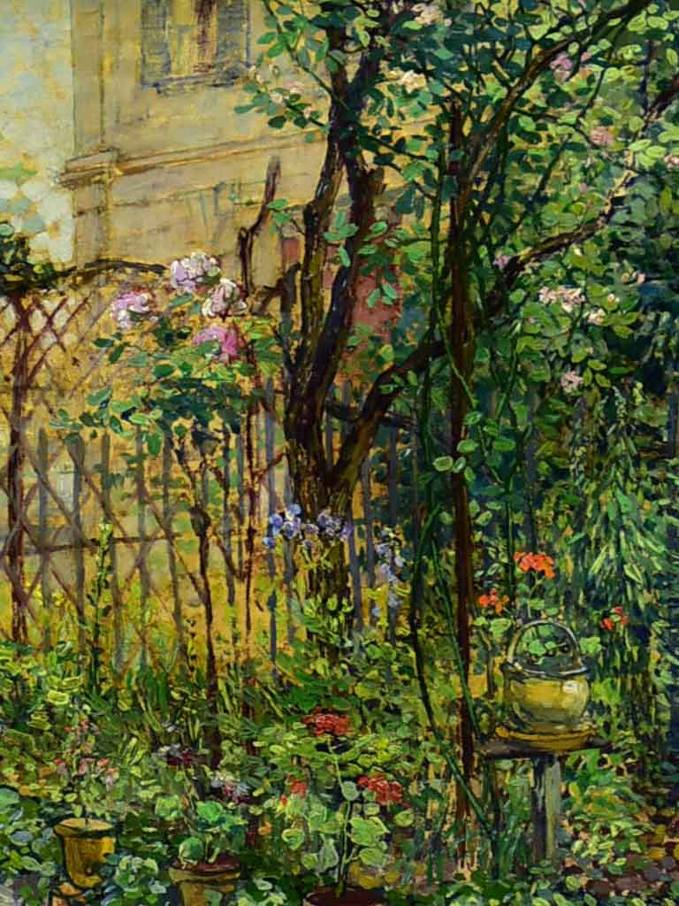 "Early 20th century oil on canvas of a Parisian house and garden - Etienne De Lierres 13"" x 15"""