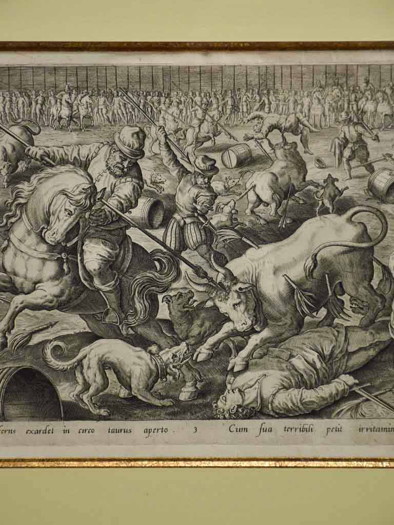 "16th Century French engraving of a battle 19¼"" x 24¾"""