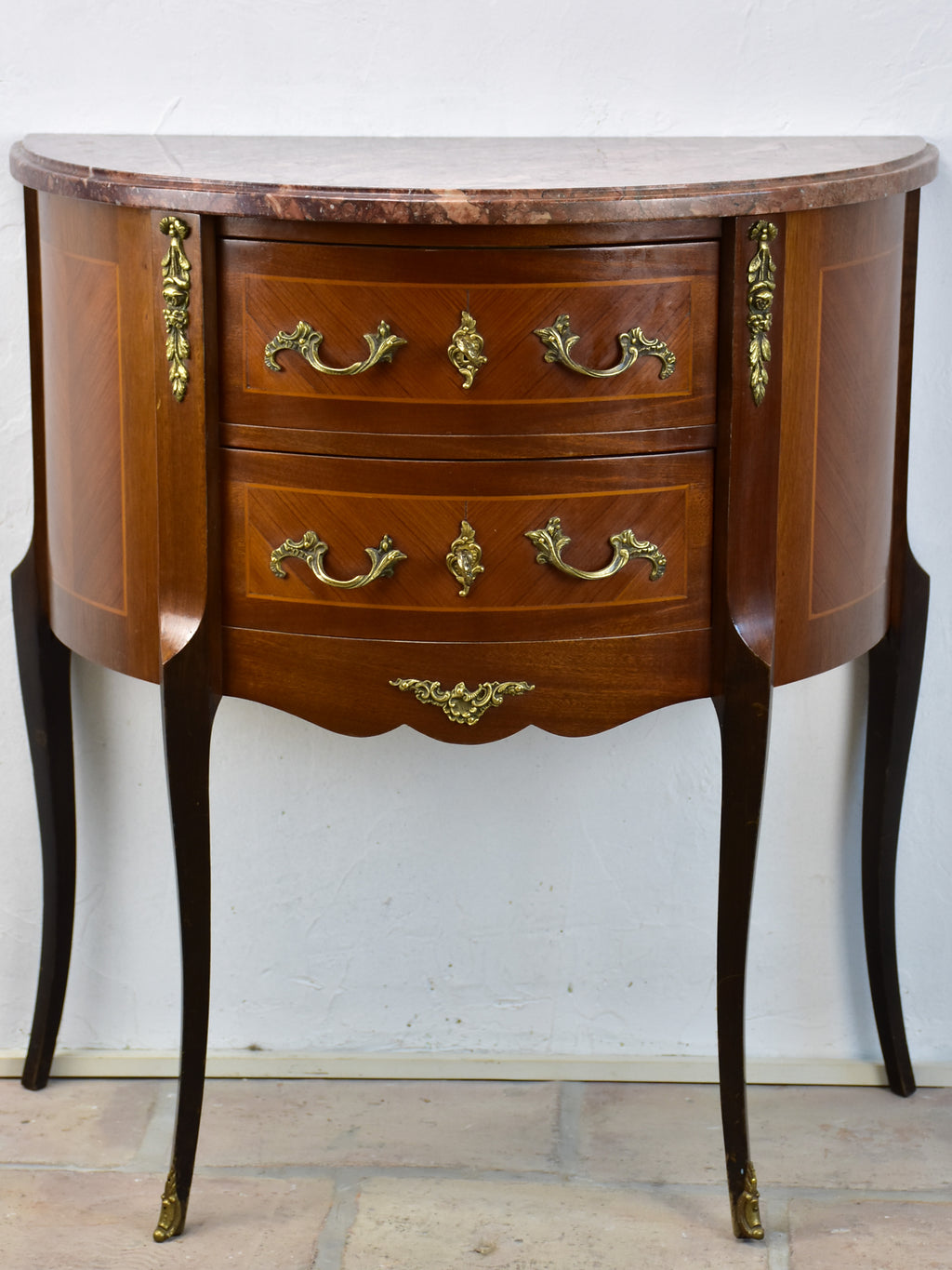 Antique French demilune commode with marble top