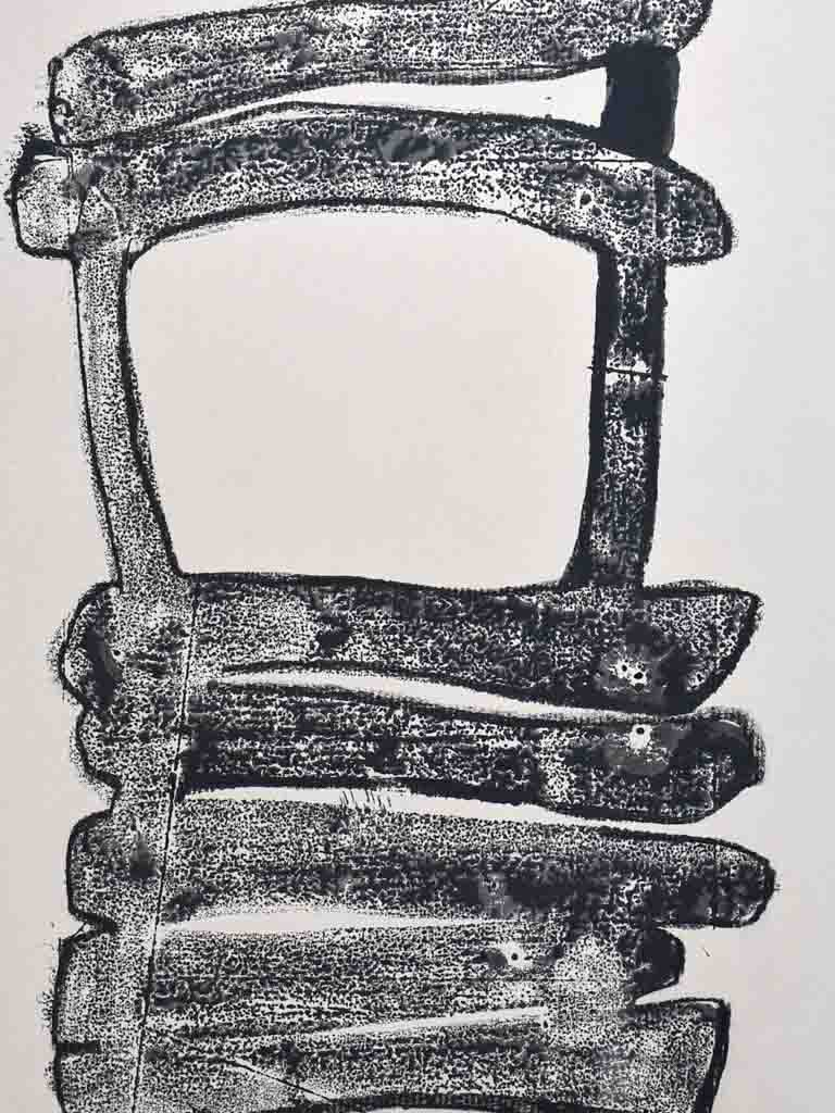 "1/2 Monotype oil on paper of a chair by Caroline Beauzon 2009 19¾"" x 25½"""