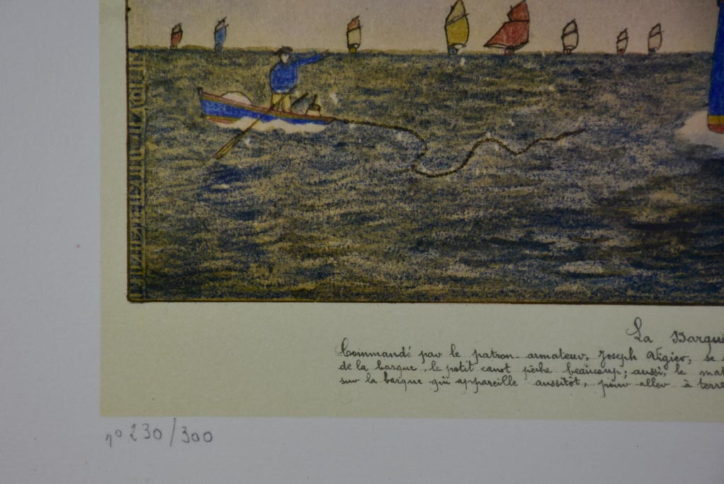 "Antique Paul-Émile Pajot (1873-1929) Lighograph and pencil boat 26"" x 19"""