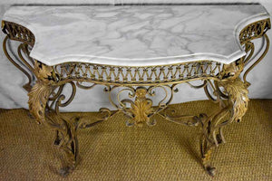 Mid Century French marble and iron console table