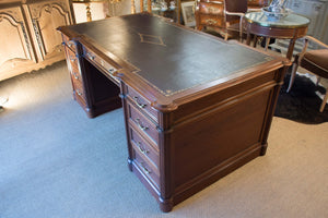 Late 19th century blonde mahogany Notary's desk with leather top