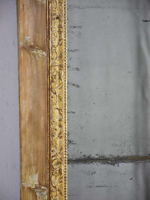 "Rustic antique French mirror with two mirror panes and timber frame 25½"" x 49½"""