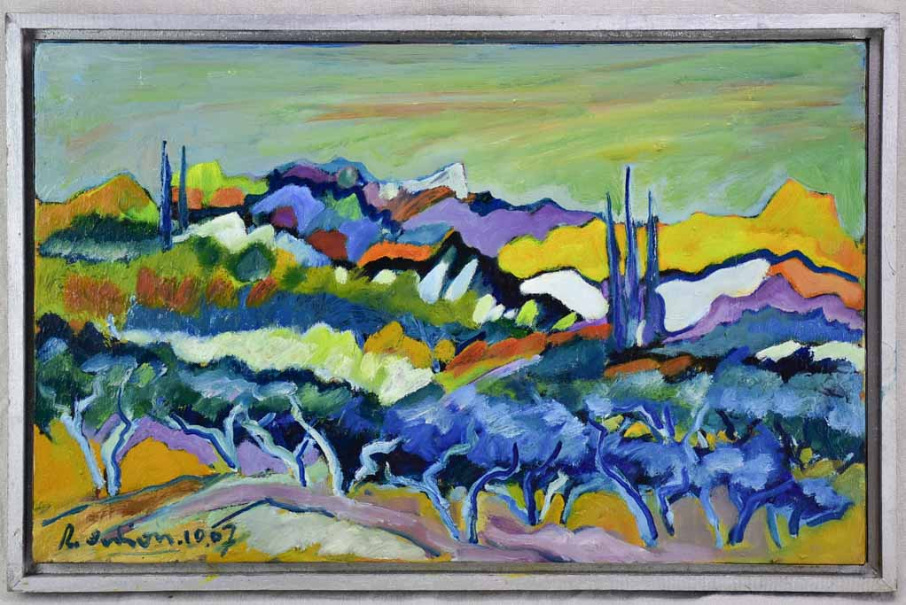 "Landscape painting in the Alpilles 1967 - Roger Oulion (1932- ) 16½"" x 25¼"""