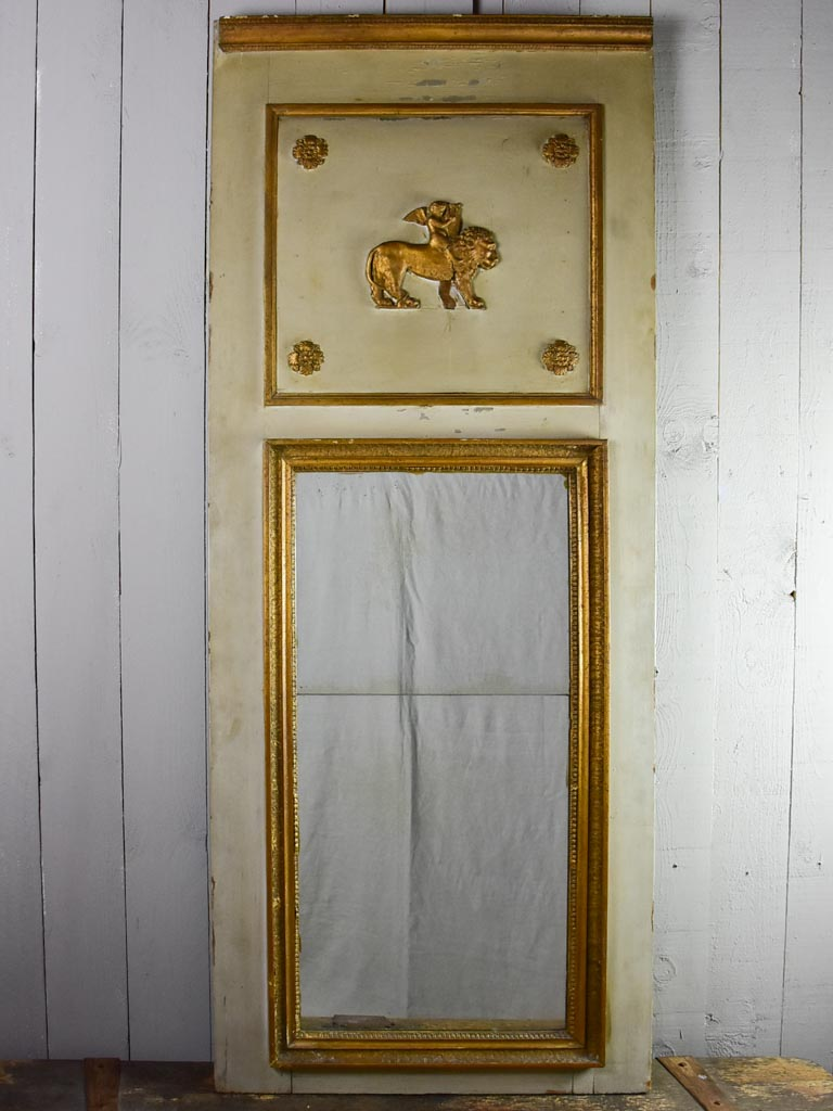 "Large antique French trumeau mirror - sage 27½"" x 69¼"""