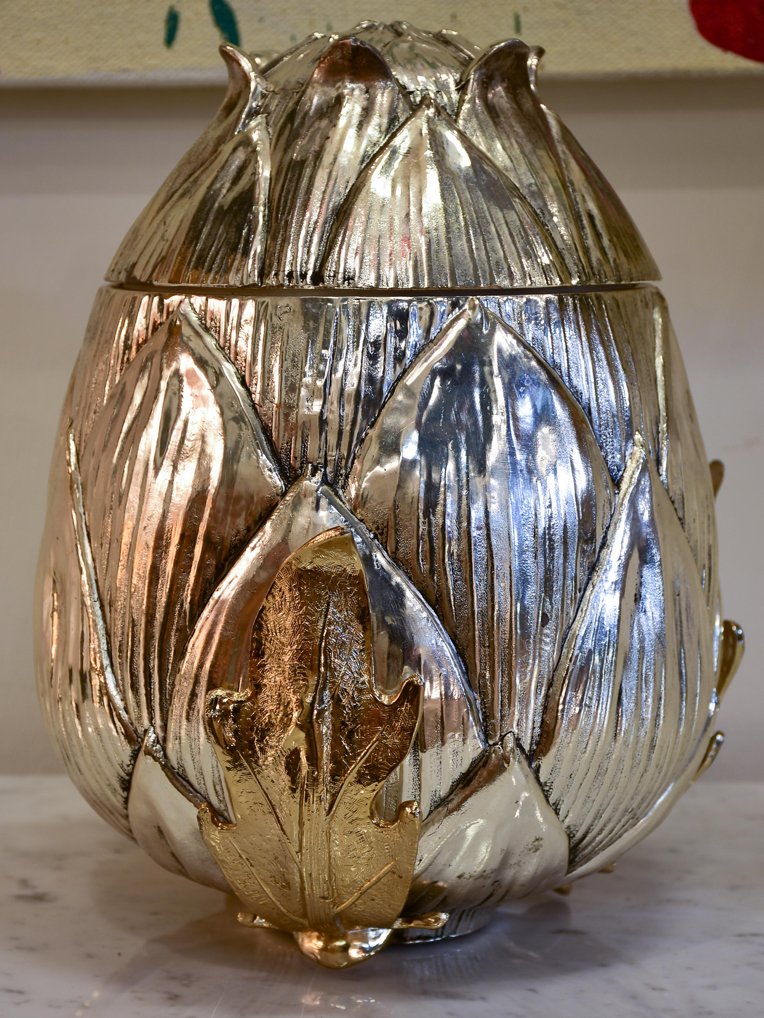 Very large Mauro Manetti champagne bucket - artichoke