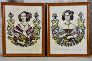 "Pair of Napoleon III water colour lithographs - winter and spring ladies 11½"" x 14¼"""