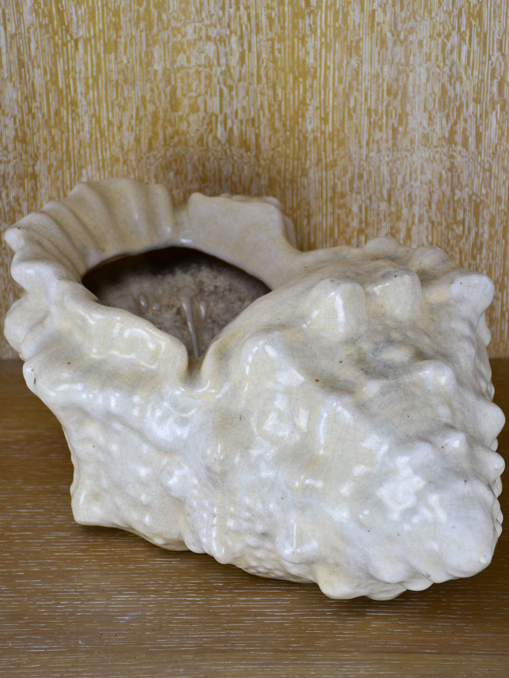 Large vintage planter in the shape of a sea shell