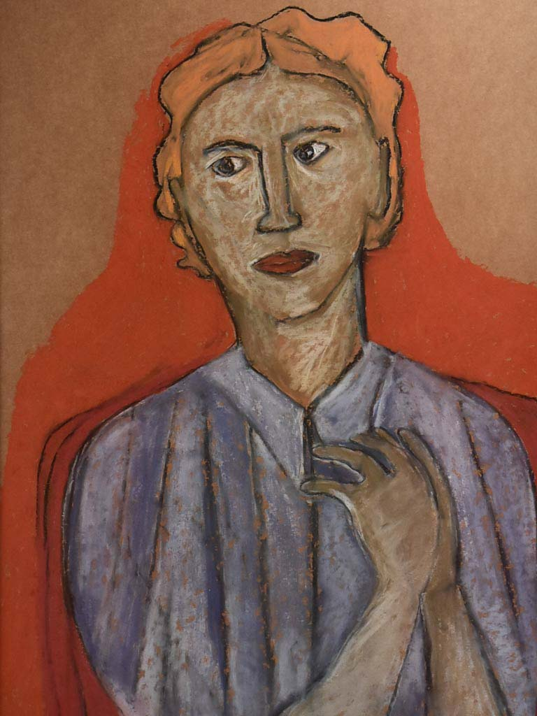 Portrait of a red-head lady in a blue blouse, pastel on paper - Caroline Beauzon 24½ x 33¾""""