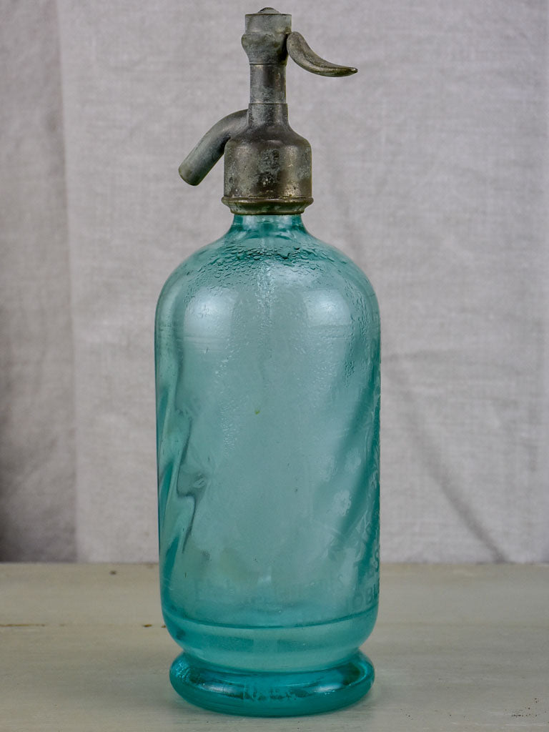 Antique French turquoise seltzer bottle - Testoud Grenoble