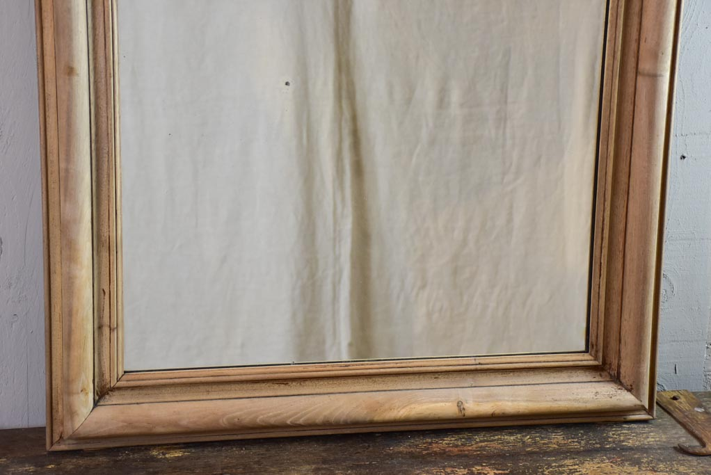 "Antique French raw walnut framed mirror 31½"" x 48¾"""