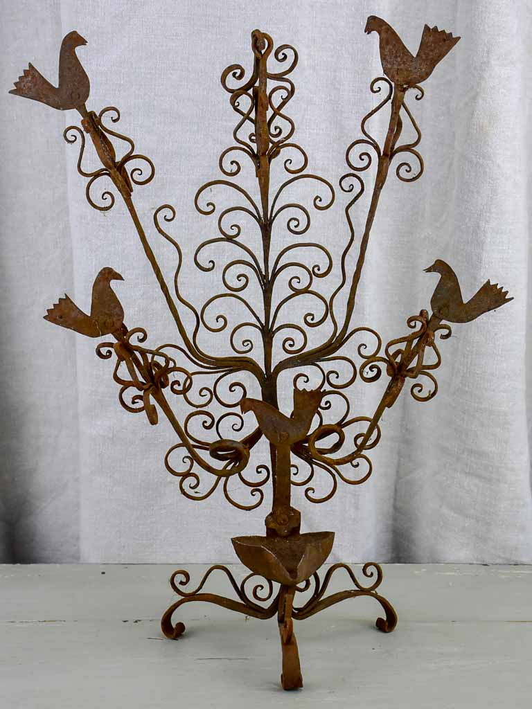 Vintage wrought iron wall sconce / lamp with birds