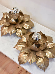 Pair of vintage wall / ceiling sconces with sculptural gold leaves