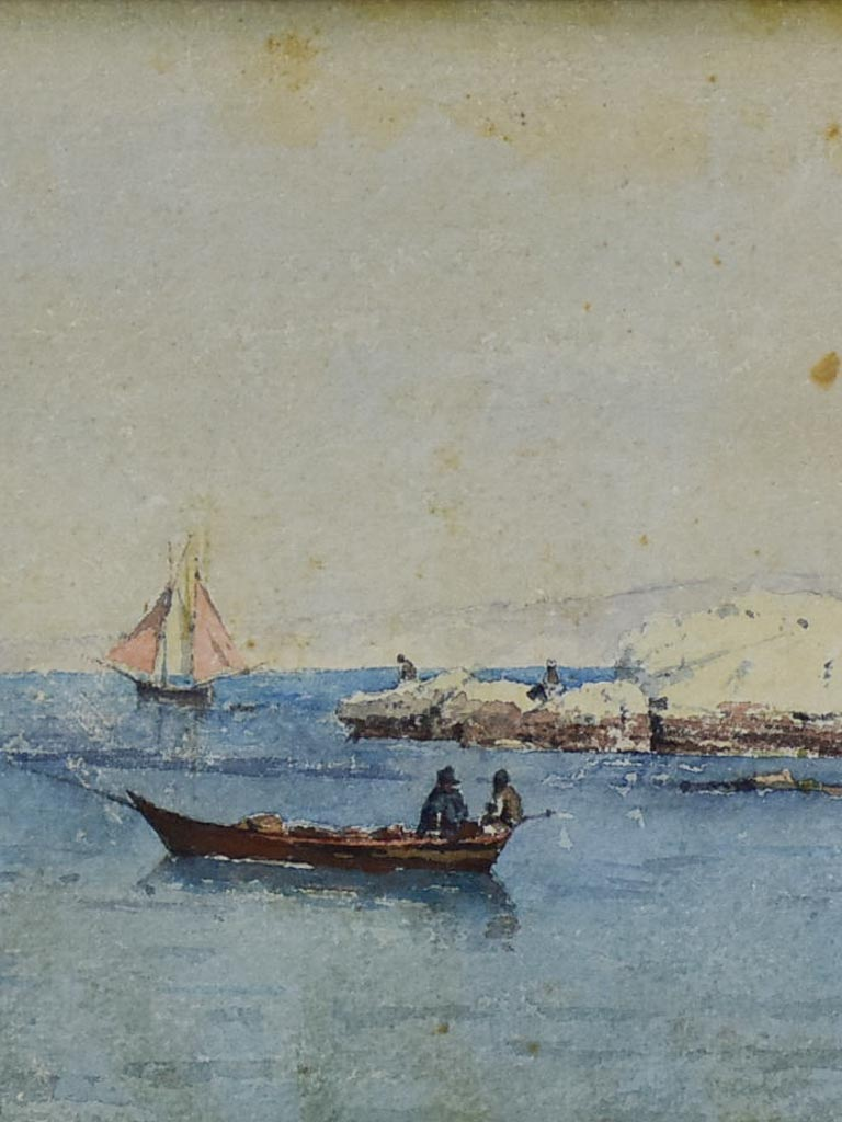 """The boats"" Marseille - Les barques, Marius Pauzat (1832-1909) 16½"" x 11¾"""