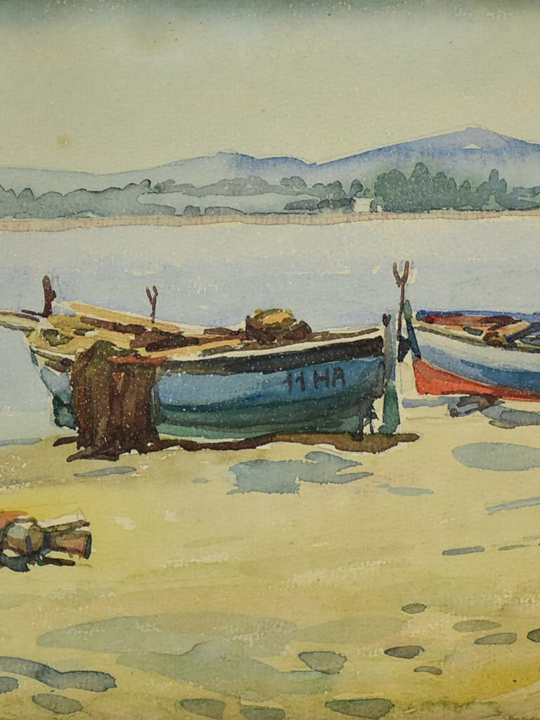"Early 20th Century watercolor - Fishing boats 11"" x 15"""