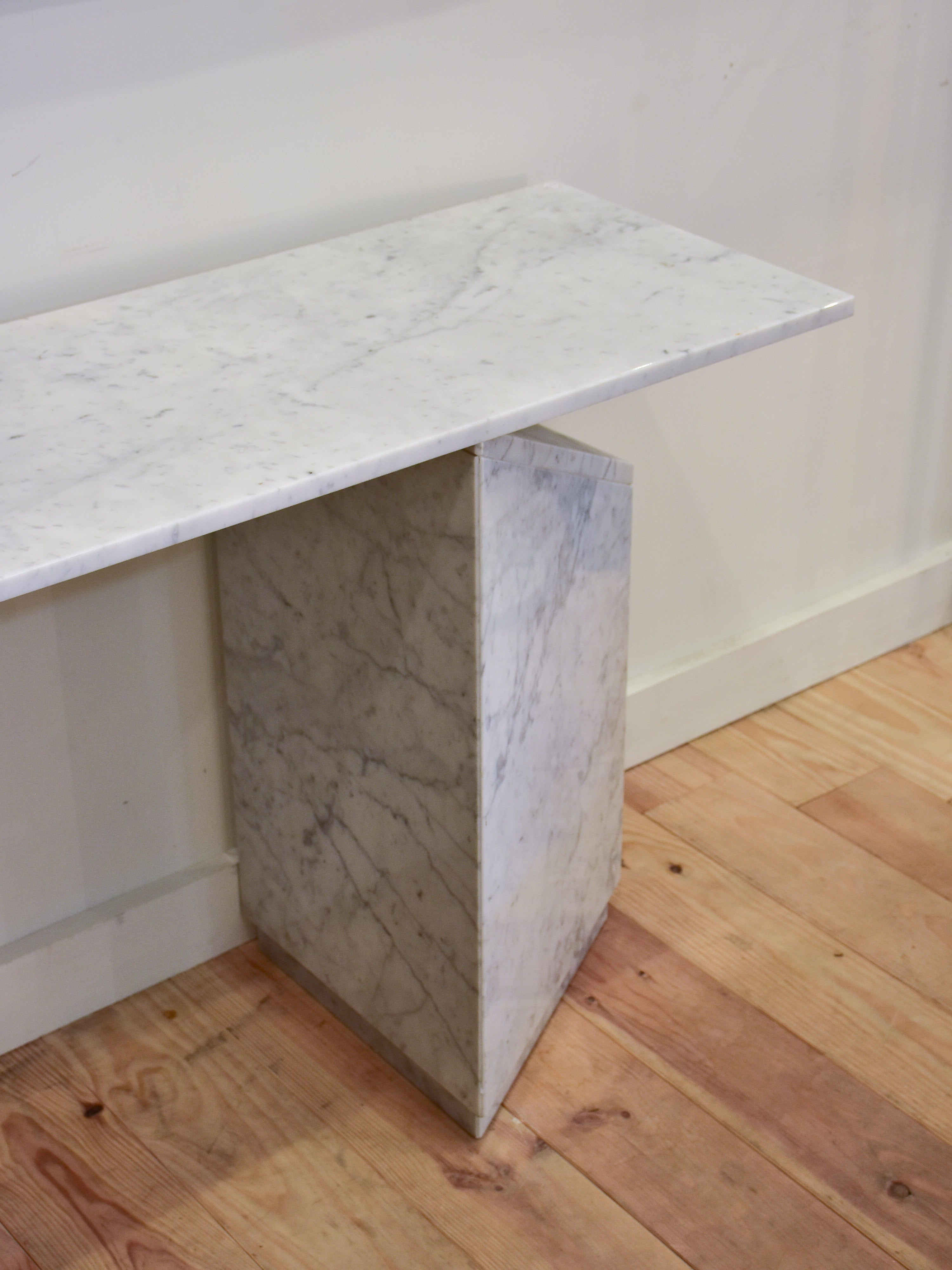 Vintage white marble console table with triangular legs