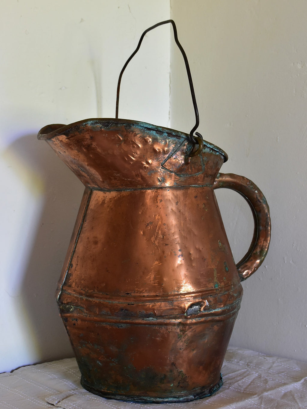 Antique French copper watering can / water pitcher