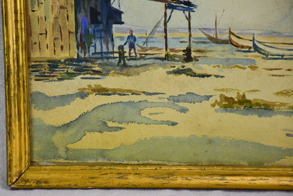 "Early 20th Century watercolor - Fishing boats and a cabin 11½"" X 14¼"""