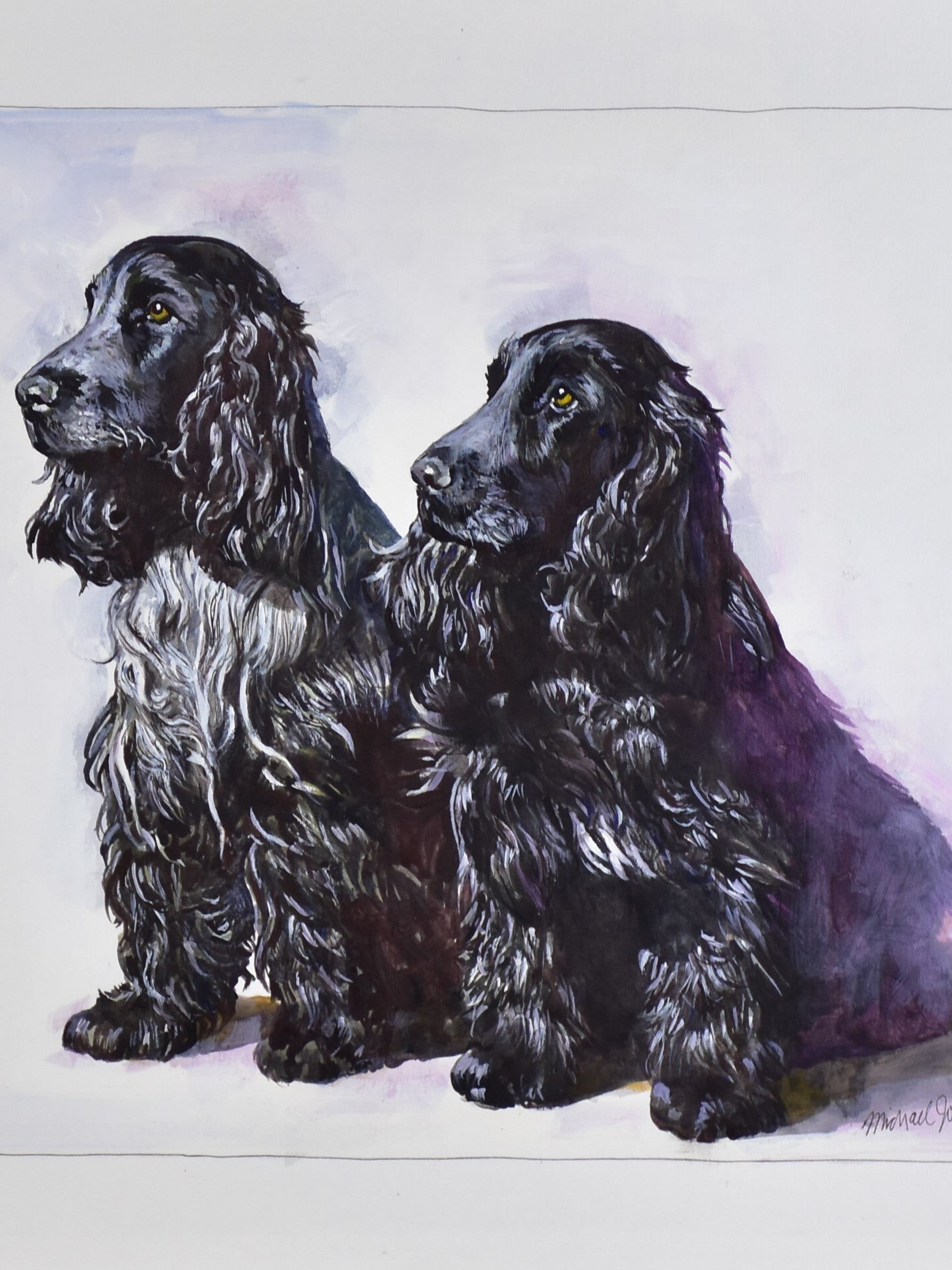 Water color painting of two black Cocker Spaniels 22 ½'' x 17 ¼''