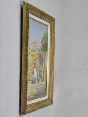 "Early 20th Century watercolor - Street vendor and an arch stone wall 22"" x 17"""