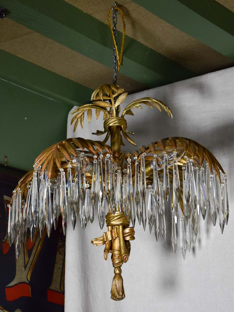 RESERVED S&G Antique palm frond chandelier - style of Joseph Hoffman 17""