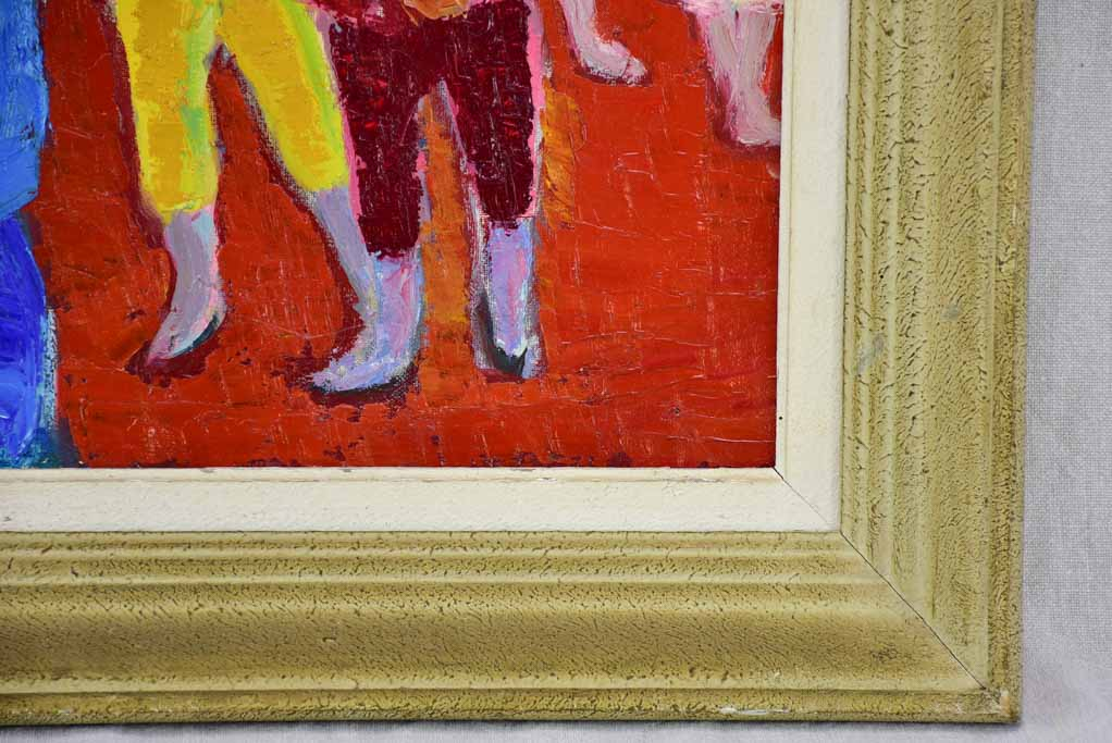 "20th Century oil on canvas of clowns - Anna Costa 20¾"" x 24½"""