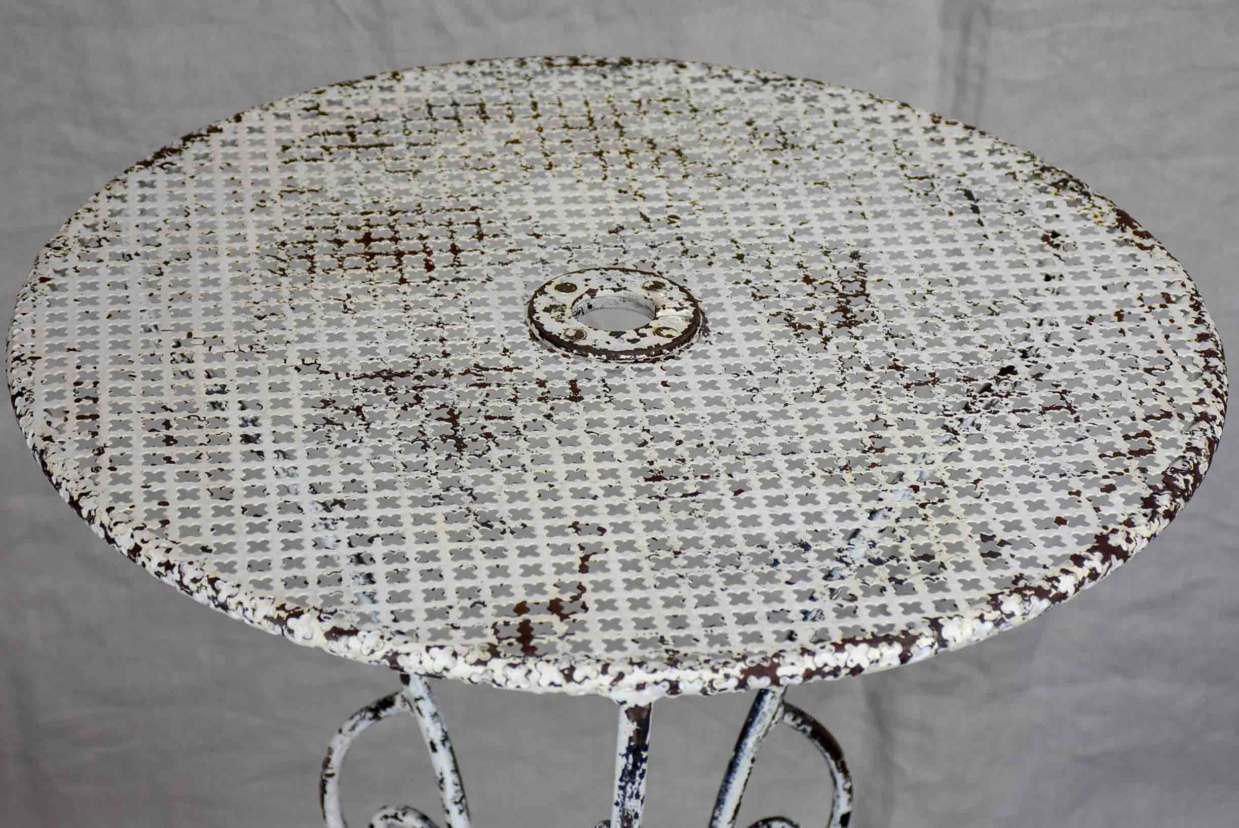 Small mid-century French garden table - perforated metal