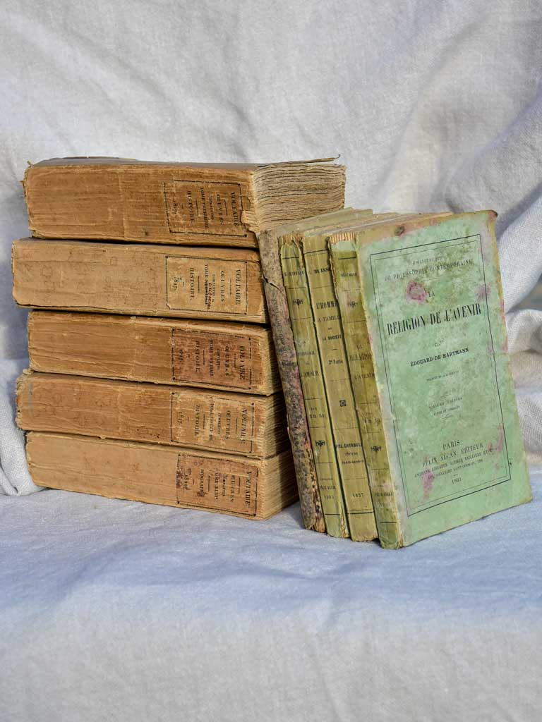 Collection of nine antique French books