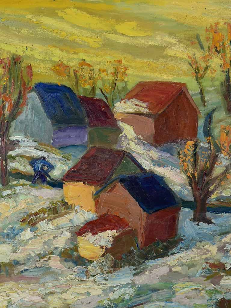 "20th Century oil on wood - Autumn snow in a village in Provence - Anna Costa 34¼"" x 28"""