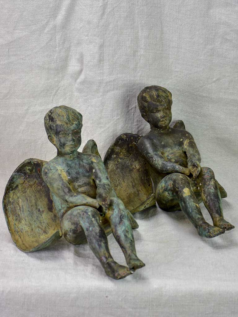 Pair of antique French angels made from metal